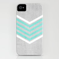 iPhone 4s & iPhone 4 Cases featuring Teal and White Chevron on Silver Grey Wood by Tangerine-Tane
