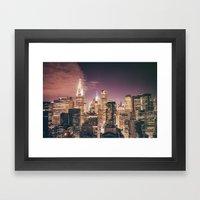New York City - Chrysler Building Lights Framed Art Print