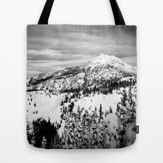 Snowy Mountain Peak Black and White Tote Bag