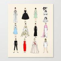 Audrey Fashion Vintage Retro in Cream Canvas Print