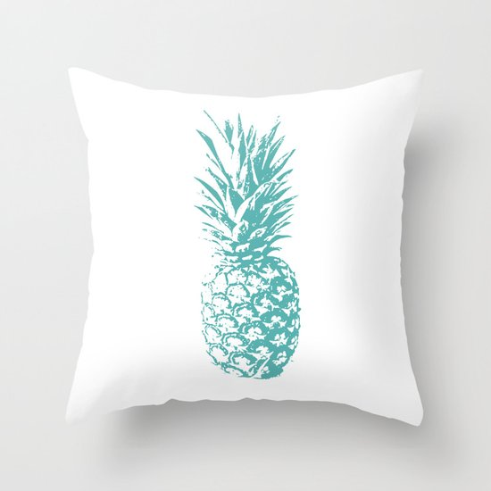 Teal Pineapple Throw Pillow By Float Stories