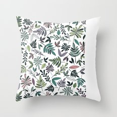 Black Border Leaves  Throw Pillow