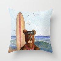 Surfer Bear Throw Pillow