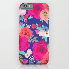 Sweet Pea Floral Blue Bright Color iPhone 6 Slim Case