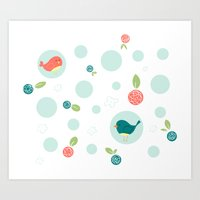 Birds With Polka Dots Art Print