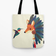 Painted Indian Fox and Hummingbird Tote Bag