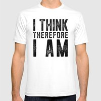 I think, therefore I am - on white Mens Fitted Tee White SMALL