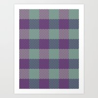 Pixel Plaid - Dark Seas Art Print