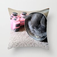 Gamer Bunny Throw Pillow