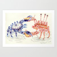 Crabby Fight Art Print