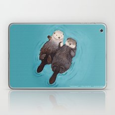 Otterly Romantic - Otters Holding Hands Laptop & iPad Skin