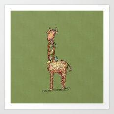 Cleo Giraffe Green Art Print
