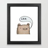 Growling Bear Framed Art Print