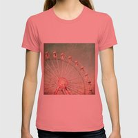 Ferris Wheel on Blue Textured Sky  Womens Fitted Tee Pomegranate SMALL