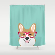Teagan Glasses Corgi Cut… Shower Curtain