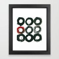 Black Circle Red Circle Framed Art Print