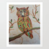 The Owl Of Colors Art Print