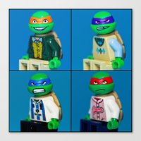 Dorky Teenage Yearbook Turtles Canvas Print