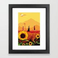 Journey to the Sunflower Samurai Framed Art Print