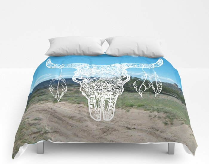 new mexico southwest bull skull design comforter home decor