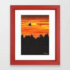 Sunset With Bird Framed Art Print