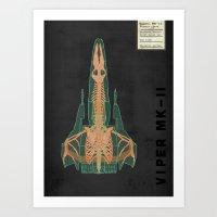 Spaceship Skeletal Survey: Viper Mk-II Art Print