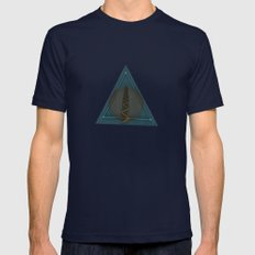 Abstract/Geometric O3 Mens Fitted Tee Navy SMALL