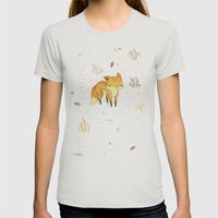 Lonely Winter Fox Womens Fitted Tee Silver SMALL