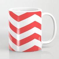 Red Chevron Lines Mug