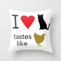 I Heart Cats Throw Pillow