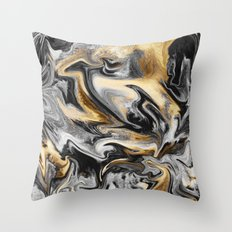 Gold Veins Throw Pillow
