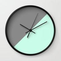 Grey and Mint Half Triangle Wall Clock