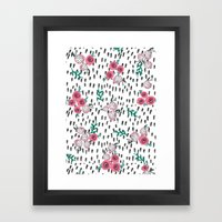 Rose. Illustration, pattern, print, floral design, art, painting, flowers, flower, Framed Art Print