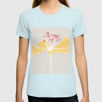 Cherry Blossom: Stone Womens Fitted Tee Light Blue SMALL