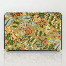vintage christmas gold iPad Case