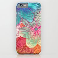 orange iPhone & iPod Cases featuring Between the Lines - tropical flowers in pink, orange, blue & mint by micklyn