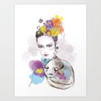 look my cat Art Print