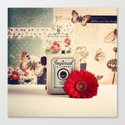 Retro Camera and Red Flower (Retro and Vintage Still Life Photography) Canvas Print