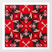 Vampire Bat Face Geometr… Art Print