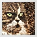 Painted angry looking persian cat head Canvas Print