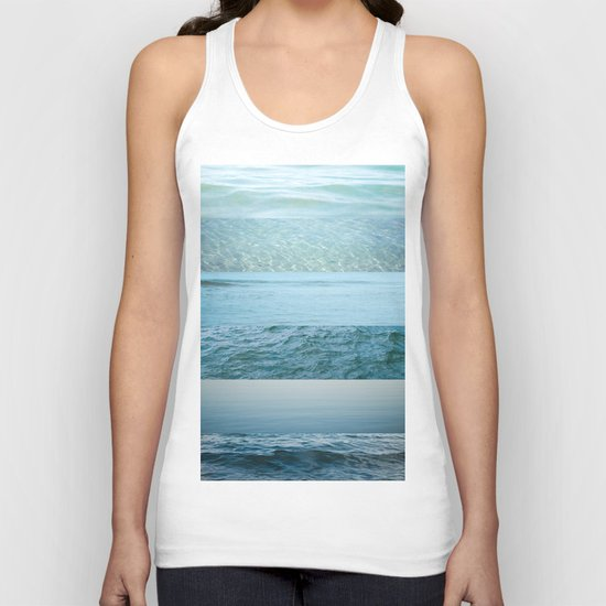 Water Study abstract blue waves Unisex Tank Top