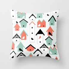 birds and houses Throw Pillow
