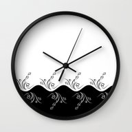Wall Clock featuring Black And White Floral by Nina Baydur