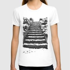 Winter stairway Womens Fitted Tee White SMALL