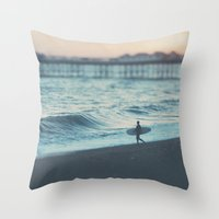 The Lone Surfer ...  Throw Pillow