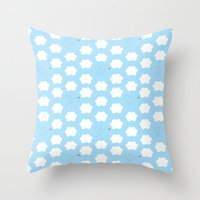 Cloud And Bee Pattern Throw Pillow