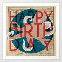 Happy Octopus Birthday! Art Print