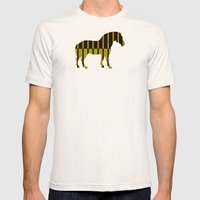 Quagga Zebra Plays Piano Mens Fitted Tee Natural SMALL