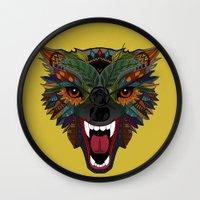 wolf fight flight ochre Wall Clock