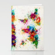 Map Of The World Map Pai… Stationery Cards